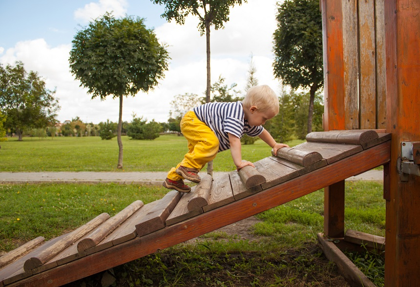 Little boy on a kids' playground