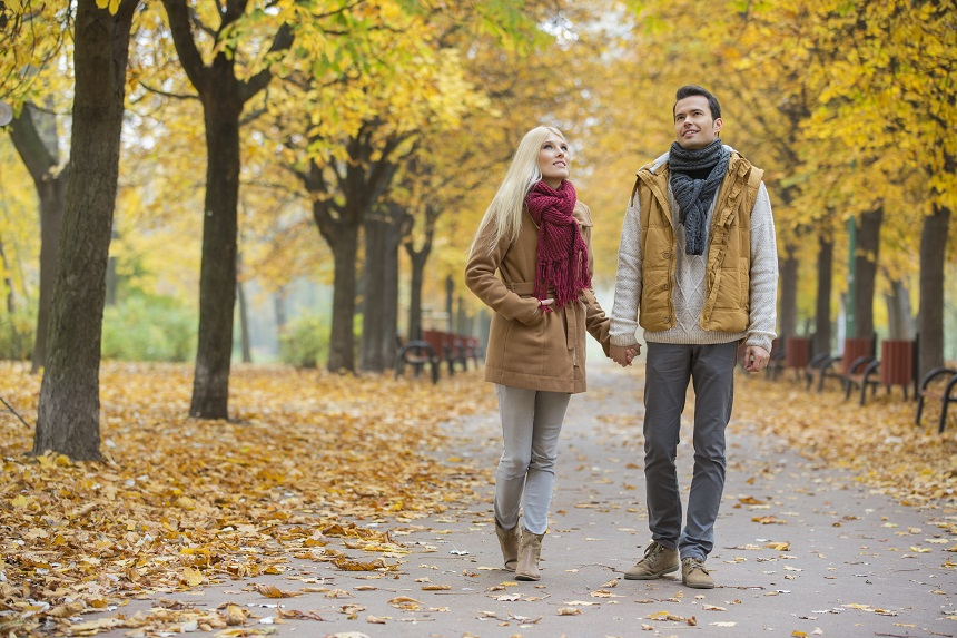 Young couple walking in a park among yellow autumn trees